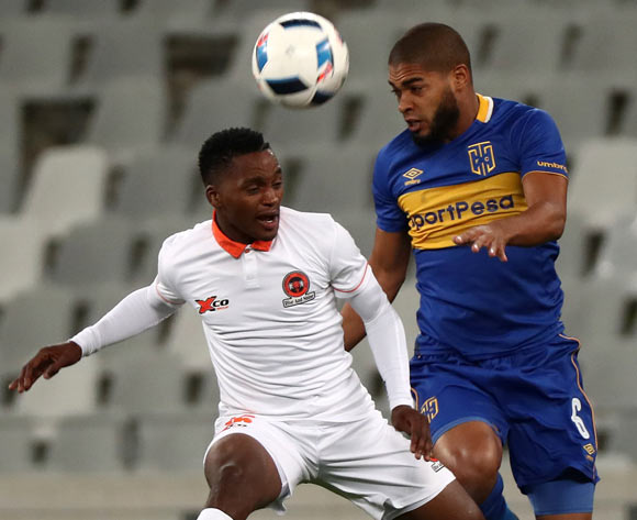 Ebrahim Seedat of Cape Town City battles for the ball with Vusimuzi Mngomezulu of Polokwane City during the Absa Premiership 2017/18 football match between Cape Town City FC and Polokwane City at Cape Town Stadium, Cape Town on 22 September 2017 ©Chris Ricco/BackpagePix