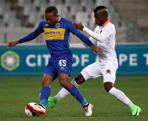 Lehlohonolo Majoro of Cape Town City evades challenge from Walter Musona of Polokwane City during the Absa Premiership 2017/18 football match between Cape Town City FC and Polokwane City at Cape Town Stadium, Cape Town on 22 September 2017 ©Chris Ricco/BackpagePix