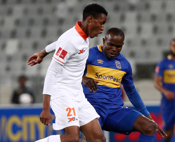 Sammy Seabi of Polokwane City evades challenge from Victor Obinna of Cape Town City during the Absa Premiership 2017/18 football match between Cape Town City FC and Polokwane City at Cape Town Stadium, Cape Town on 22 September 2017 ©Chris Ricco/BackpagePix