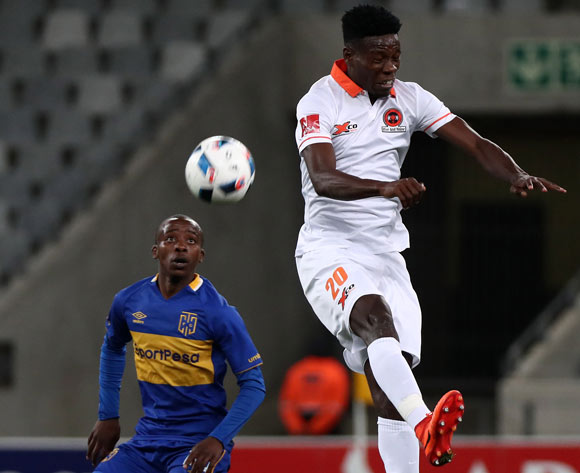 Salulani Phiri of Polokwane City battles for the ball with Thabo Nodada of Cape Town City during the Absa Premiership 2017/18 football match between Cape Town City FC and Polokwane City at Cape Town Stadium, Cape Town on 22 September 2017 ©Chris Ricco/BackpagePix