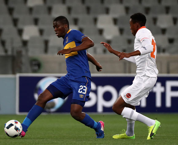 Mpho Matsi of Cape Town City evades challenge from Sammy Seabi of Polokwane City during the Absa Premiership 2017/18 football match between Cape Town City FC and Polokwane City at Cape Town Stadium, Cape Town on 22 September 2017 ©Chris Ricco/BackpagePix
