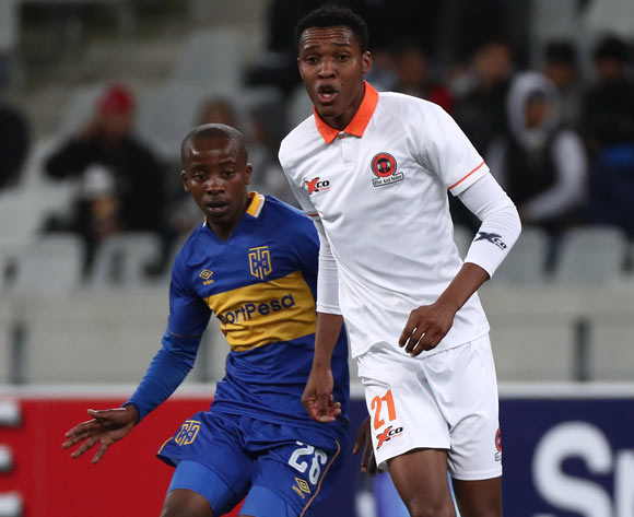 Sammy Seabi of Polokwane City evades challenge from Thabo Nodada of Cape Town City during the Absa Premiership 2017/18 football match between Cape Town City FC and Polokwane City at Cape Town Stadium, Cape Town on 22 September 2017 ©Chris Ricco/BackpagePix