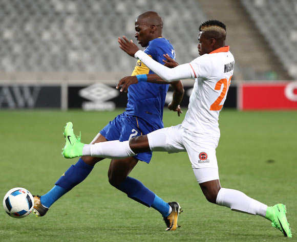 Thabo Nodada of Cape Town City challenged by Walter Musona of Polokwane City during the Absa Premiership 2017/18 football match between Cape Town City FC and Polokwane City at Cape Town Stadium, Cape Town on 22 September 2017 ©Chris Ricco/BackpagePix