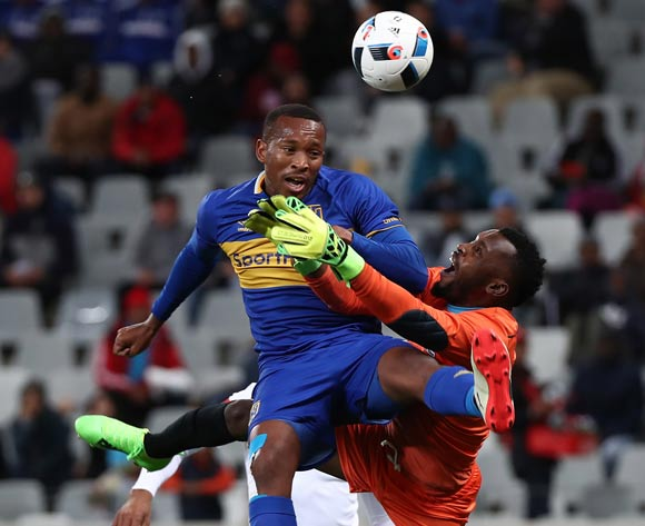 Lehlohonolo Majoro of Cape Town City battles for the ball with Harold Ndlovu of Polokwane City during the Absa Premiership 2017/18 football match between Cape Town City FC and Polokwane City at Cape Town Stadium, Cape Town on 22 September 2017 ©Chris Ricco/BackpagePix