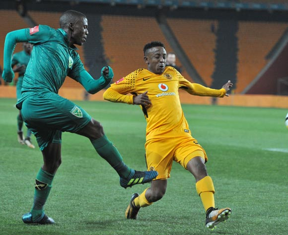 Nduduzo Sibiya of Golden Arrows challenged by Hendrick Ekstein of Kaizer Chiefs during 2017/18 Absa Premiership game between Kaizer Chiefs and Golden Arrows at Soccer City Stadium on 22 September 2017@Aubrey Kgakatsi/BackpagePix