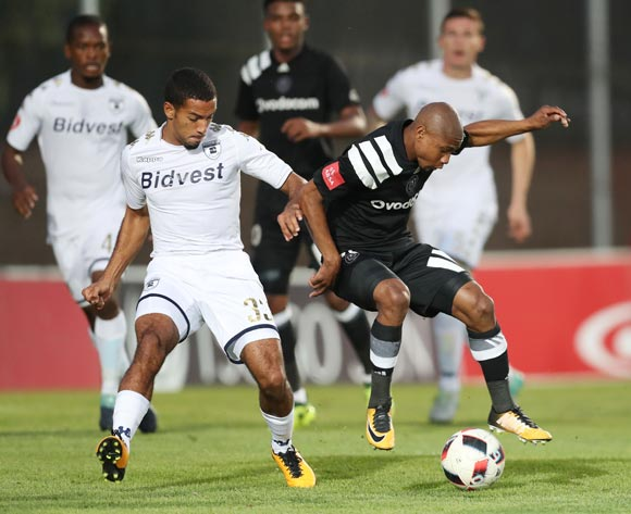 Thabo Qalinge of Orlando Pirates challenged by Reeve Frosler of Bidvest Wits during the 2017/18 Absa Premiership football match between Bidvest Wits and Orlando Pirates at Bidvest Stadium, Johannesburg on 23 September 2017 ©Gavin Barker/BackpagePix