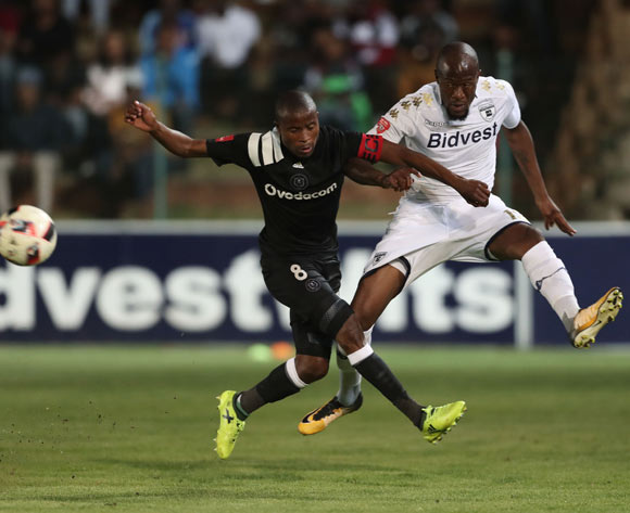 Sfiso Hlanti of Bidvest Wits clears ball from Thabo Matlaba of Orlando Pirates  during the 2017/18 Absa Premiership football match between Bidvest Wits and Orlando Pirates at Bidvest Stadium, Johannesburg on 23 September 2017 ©Gavin Barker/BackpagePix
