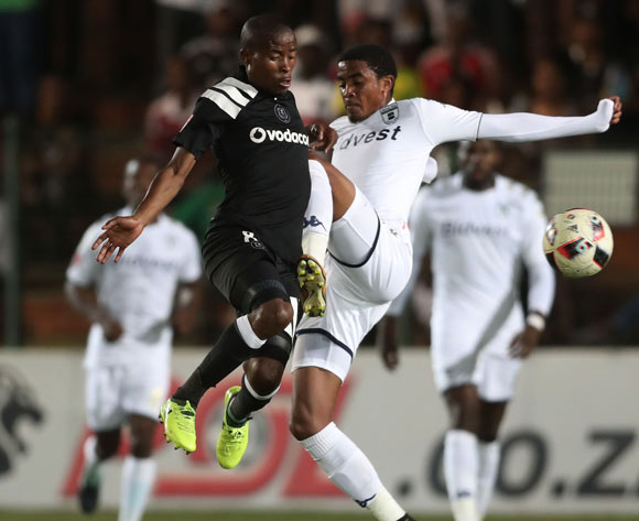 Thabo Matlaba of Orlando Pirates challenged by Gerald Phiri of Bidvest Wits  during the 2017/18 Absa Premiership football match between Bidvest Wits and Orlando Pirates at Bidvest Stadium, Johannesburg on 23 September 2017 ©Gavin Barker/BackpagePix