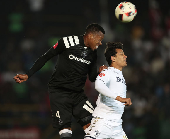 Happy Jele of Orlando Pirates wins header against Ahmed Gamal Amr of Bidvest Wits  during the 2017/18 Absa Premiership football match between Bidvest Wits and Orlando Pirates at Bidvest Stadium, Johannesburg on 23 September 2017 ©Gavin Barker/BackpagePix