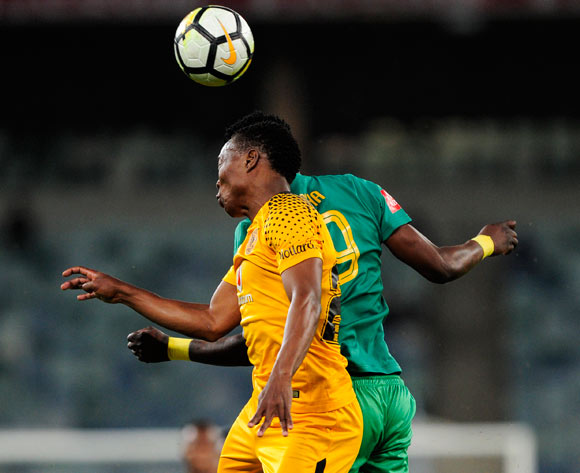 Philani Zulu of Kaizer Chiefs FC get the ball before Lewis Macha of Baroka FC during the Absa Premiership 2017/18 football match between Kaizer Chiefs and Baroka FC at Moses Mabhida Stadium, Durban on 30 September 2017 ©Gerald Duraan/BackpagePix