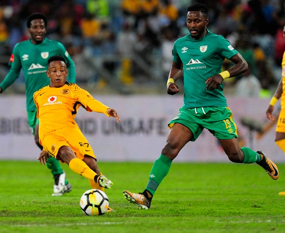 Hendrick Ekstein of Kaizer Chiefs FC is challenged by Lewis Macha of Baroka FC during the Absa Premiership 2017/18 football match between Kaizer Chiefs and Baroka FC at Moses Mabhida Stadium, Durban on 30 September 2017 ©Gerald Duraan/BackpagePix