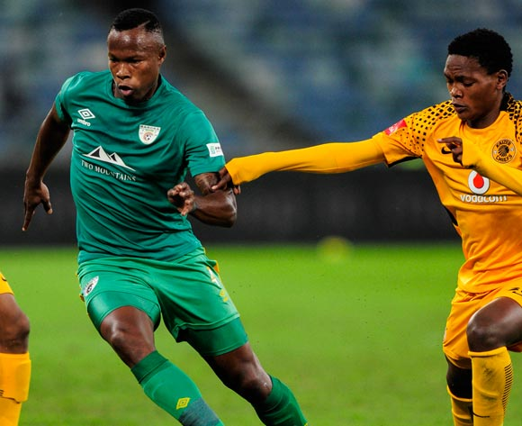 Letladi Madubanya of Baroka FC and Wiseman Meyiwa of Kaizer Chiefs during the Absa Premiership 2017/18 football match between Kaizer Chiefs and Baroka FC at Moses Mabhida Stadium, Durban on 30 September 2017 ©Gerald Duraan/BackpagePix
