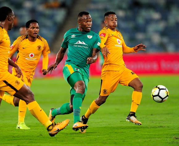 Hendrick Ekstein of Kaizer Chiefs FC is challenged by Letladi Madubanya of Baroka FC during the Absa Premiership 2017/18 football match between Kaizer Chiefs and Baroka FC at Moses Mabhida Stadium, Durban on 30 September 2017 ©Gerald Duraan/BackpagePix