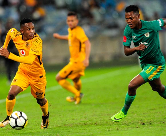 Hendrick Ekstein of Kaizer Chiefs FC is challenged by Richard Matloga of Baroka FC during the Absa Premiership 2017/18 football match between Kaizer Chiefs and Baroka FC at Moses Mabhida Stadium, Durban on 30 September 2017 ©Gerald Duraan/BackpagePix