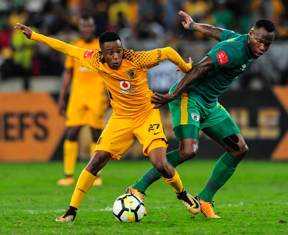 Hendrick Ekstein of Kaizer Chiefs FC and Letladi Madubanya of Baroka FC fight it out for the ball during the Absa Premiership 2017/18 football match between Kaizer Chiefs and Baroka FC at Moses Mabhida Stadium, Durban on 30 September 2017 ©Gerald Duraan/BackpagePix