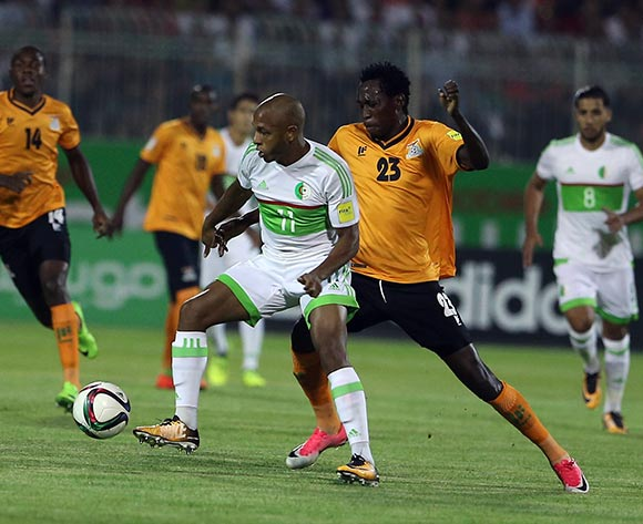 Algerian player  Yacine Brahimi (L) fights for the ball with Zambian player Kondwani Mtonga (R) during the World Cup 2018 qualifying football match between Algeria and Zambia in Constantine, Algeria on 05 September 2017 © BackpagePix
