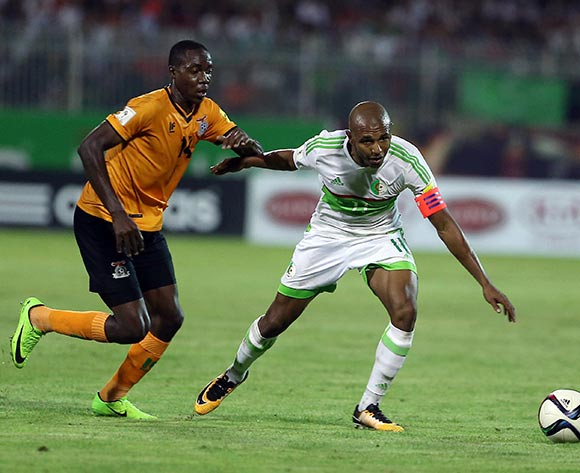 Algerian player  Yacine Brahimi (R)  fights for the ball with Zambian player   Enock Mwepu (L)  during the World Cup 2018 qualifying football match between Algeria and Zambia in Constantine, Algeria on 05 September 2017 © BackpagePix