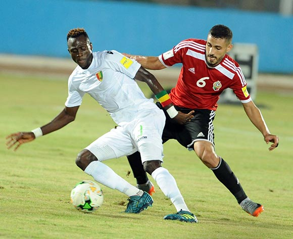 Libya player  Aleyat Mohamed (R) fights for the ball with Guinea player Sylla Issiaga (L)  during the World Cup 2018 qualifying football match between Libya and Guinea in Monastir, Tunisia on 04 September 2017 © BackpagePix