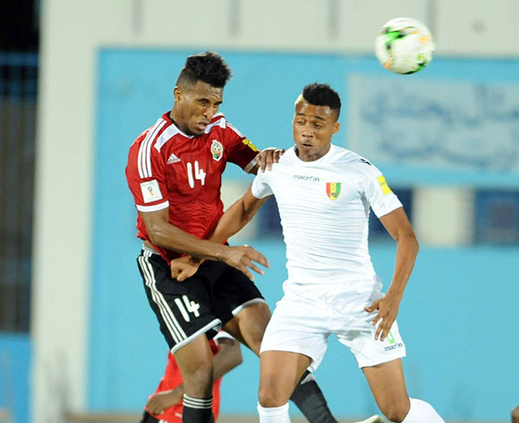Libya player Masaud Sand (L)  fights for the ball with Guinea player Balde Ousmane (R)   during the World Cup 2018 qualifying football match between Libya and Guinea in Monastir, Tunisia on 04 September 2017 © BackpagePix