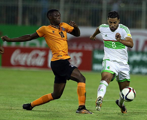 Algerian player Saphir Taider (R) fights for the ball with Zambian player  Patson Daka (L) during the World Cup 2018 qualifying football match between Algeria and Zambia in Constantine, Algeria on 05 September 2017 © BackpagePix