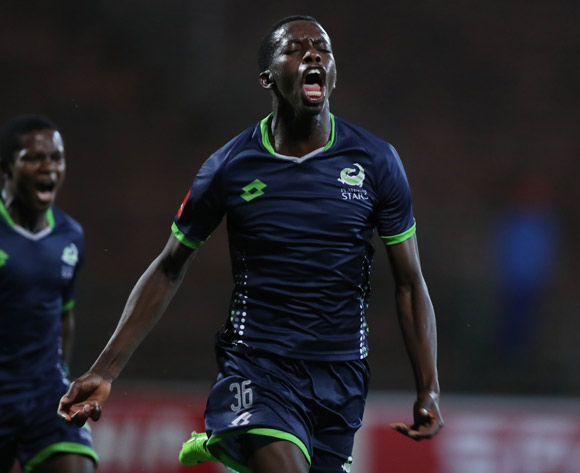 Thabang Sesinyi of Platinum Stars after his goal during the Absa Premiership 2017/18 game between AmaZulu and Platinum Stars at King Zwelithini Stadium, Durban on 23 September 2017 © Steve Haag/BackpagePix
