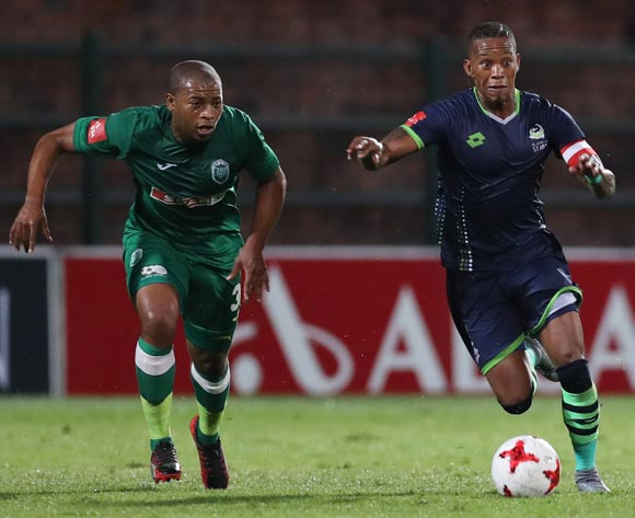 Vuyo Mere of Platinum Stars and Simphiwe Mtsweni of AmaZulu during the Absa Premiership 2017/18 game between AmaZulu and Platinum Stars at King Zwelithini Stadium, Durban on 23 September 2017 © Steve Haag/BackpagePix