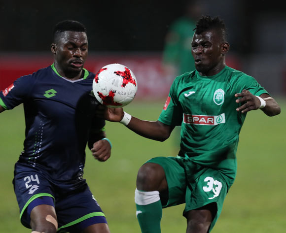 Enocent Mkhabela of Platinum Stars and Samuel Darpoh of AmaZulu during the Absa Premiership 2017/18 game between AmaZulu and Platinum Stars at King Zwelithini Stadium, Durban on 23 September 2017 © Steve Haag/BackpagePix