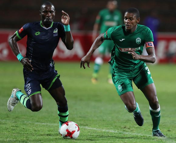 Robert Ng'ambi of Platinum Stars and Vukile Mngqibisa of AmaZulu go for the ball during the Absa Premiership 2017/18 game between AmaZulu and Platinum Stars at King Zwelithini Stadium, Durban on 23 September 2017 © Steve Haag/BackpagePix