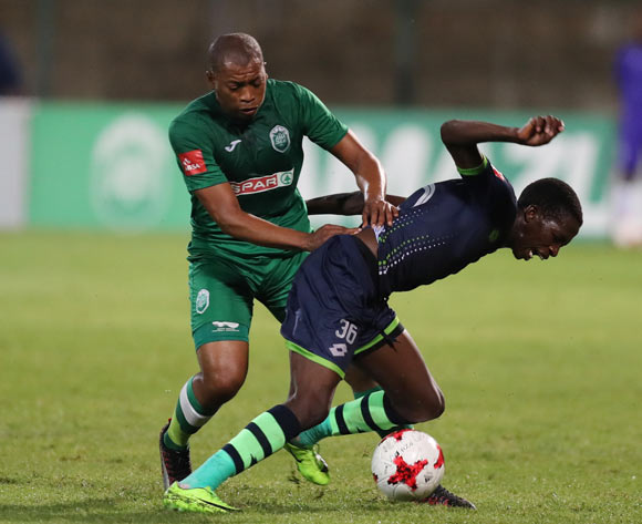 Simphiwe Mtsweni of AmaZulu  with a push on Thabang Sesinyi of Platinum Stars during the Absa Premiership 2017/18 game between AmaZulu and Platinum Stars at King Zwelithini Stadium, Durban on 23 September 2017 © Steve Haag/BackpagePix