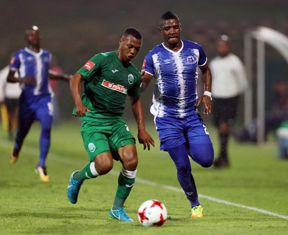 Thembela Sikhakhane of AmaZulu and Mohau Mokate of Maritzburg United go for the ball during the Absa Premiership 2017/18 game between AmaZulu and Maritzburg United at King Zwelithini Stadium, Durban on 12 September 2017 © Steve Haag/BackpagePix