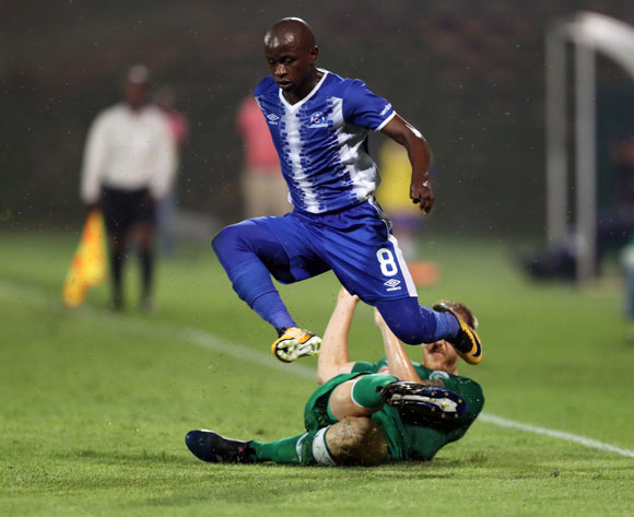 Michael Morton of AmaZulu with a good tackle on Siphesihle Ndlovu of Maritzburg United during the Absa Premiership 2017/18 game between AmaZulu and Maritzburg United at King Zwelithini Stadium, Durban on 12 September 2017 © Steve Haag/BackpagePix
