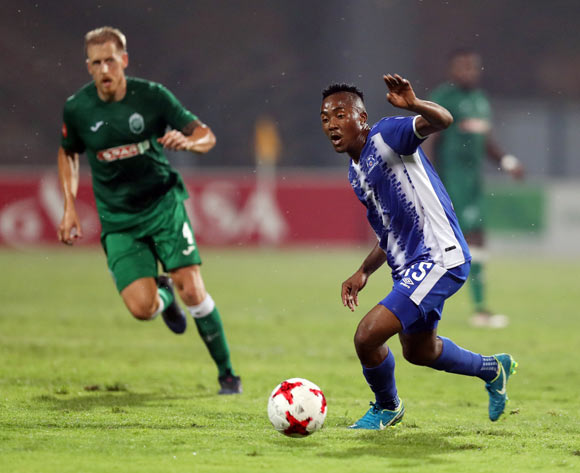 Lebohang Maboe of Maritzburg United and Michael Morton of AmaZulu during the Absa Premiership 2017/18 game between AmaZulu and Maritzburg United at King Zwelithini Stadium, Durban on 12 September 2017 © Steve Haag/BackpagePix