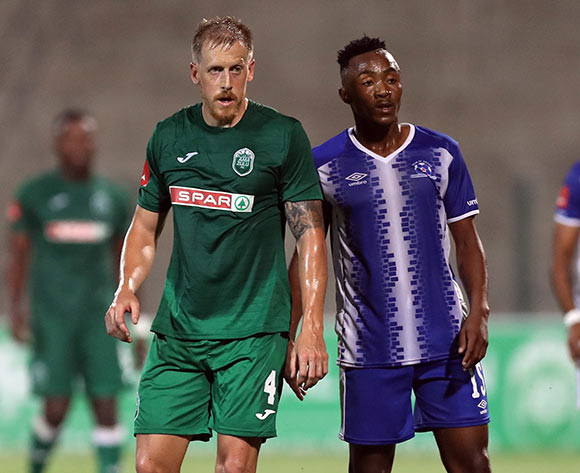 Michael Morton of AmaZulu and Lebohang Maboe of Maritzburg Utd during the Absa Premiership 2017/18 game between AmaZulu and Maritzburg United at King Zwelithini Stadium, Durban on 12 September 2017 © Steve Haag/BackpagePix