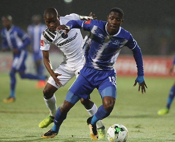 Evans Rusike of Maritzburg Utd and Thabo Matlaba of Orlando Pirates during the Absa Premiership 2017/18 game between Maritzburg United and Orlando Pirates at Harry Gwala Stadium in Pietermaritzburg on 15 September 2017 © Steve Haag/BackpagePix
