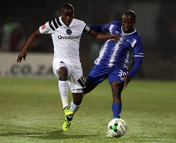 Thabo Matlaba of Orlando Pirates and Mxolisi Kunene Richard Ofori during the Absa Premiership 2017/18 game between Maritzburg United and Orlando Pirates at Harry Gwala Stadium in Pietermaritzburg on 15 September 2017 © Steve Haag/BackpagePix