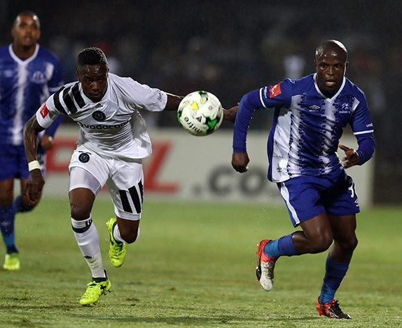 Mthokozisi Dube of Orlando Pirates and Mxolisi Kunene of Maritzburg Utd  go after the ball during the Absa Premiership 2017/18 game between Maritzburg United and Orlando Pirates at Harry Gwala Stadium in Pietermaritzburg on 15 September 2017 © Steve Haag/BackpagePix
