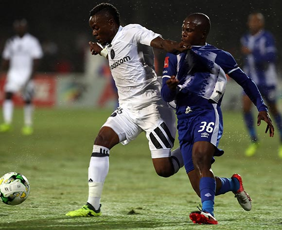Mthokozisi Dube of Orlando Pirates  holds off  Richard Ofori of Maritzburg United during the Absa Premiership 2017/18 game between Maritzburg United and Orlando Pirates at Harry Gwala Stadium in Pietermaritzburg on 15 September 2017 © Steve Haag/BackpagePix