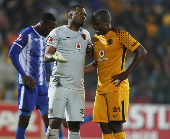 Itumeleng Khune G/K of Kaizer Chiefs with Willard Katsande of Kaizer Chiefs during the Absa Premiership 2017/18game between Maritzburg United and Kaizer Chiefs at Harry Gwala Stadium, Pietermaritzburg on 20 September 2017 © BackpagePix