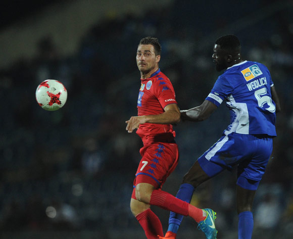 Bradley Grobler of Supersport United is challenged by Dennis Wieldiech of Maritzburg United during the MTN8 Semi Final Second Leg match between Maritzburg United and Supersport United  on the 09 September 2017 at Harry Gwala Stadium  © Sydney Mahlangu /BackpagePix