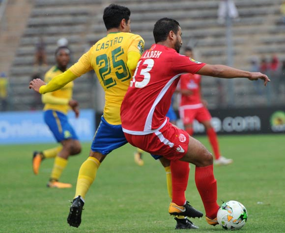 Leonardo Castro of Mamelodi Sundowns challenged by Rabeh Youssef of Wydad Athletic during 2017 Caf Champions League game between Mamelodi Sundowns and Wydad AC at Lucas Moripe Stadium on 17 September 2017@Aubrey Kgakatsi/BackpagePix