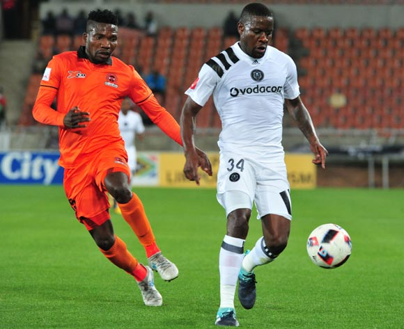 Ntsikelelo Nyauza of Orlando Pirates & Rendani Ndou of Polokwane City during the Absa Premiership 2017/18 football match between Polokwane City and Orlando Pirates at Peter Mokaba Stadium, Limpopo on 30 September 2017 ©/BackpagePix