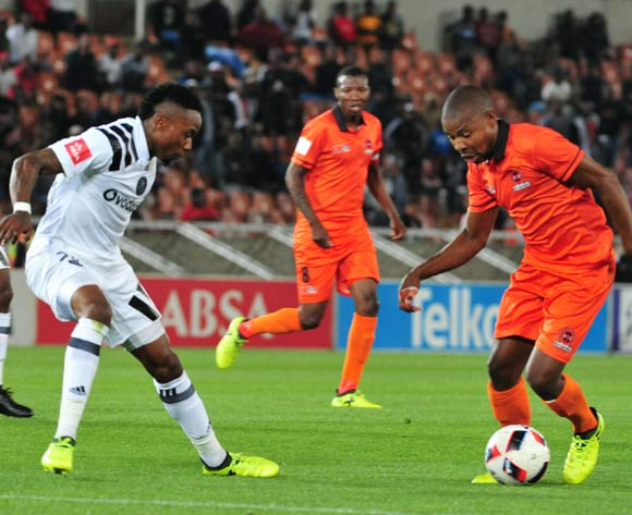 Puleng Tlolane of Polokwane City and Innocent Maela of Orlando Pirates during the Absa Premiership 2017/18 football match between Polokwane City and Orlando Pirates at Peter Mokaba Stadium, Limpopo on 30 September 2017 ©/BackpagePix