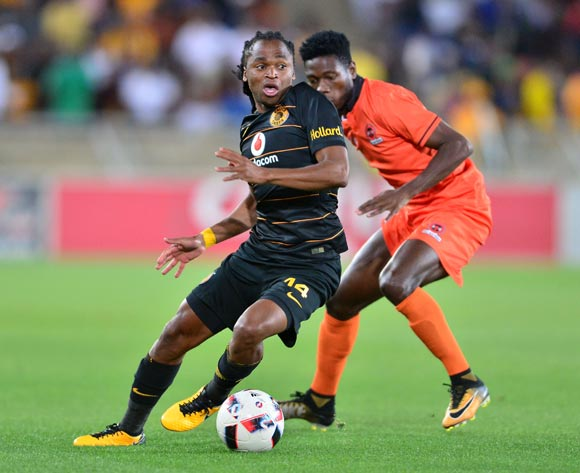 Siphiwe Tshabalala of Kaizer Chiefs challenged by  Salulani Phiri of Polokwane City during the Absa Premiership 2017/18 football match between Polokwane City and Kaizer Chiefs at Peter Mokaba Stadium, Polokwane on 31 October 2017 ©Samuel Shivambu/BackpagePix