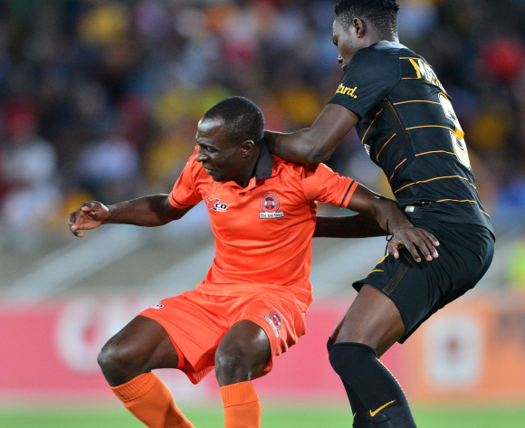 Rodney Ramagalela of Polokwane City challenged by Eric Mathoho of Kaizer Chiefs during the Absa Premiership 2017/18 football match between Polokwane City and Kaizer Chiefs at Peter Mokaba Stadium, Polokwane on 31 October 2017 ©Samuel Shivambu/BackpagePix