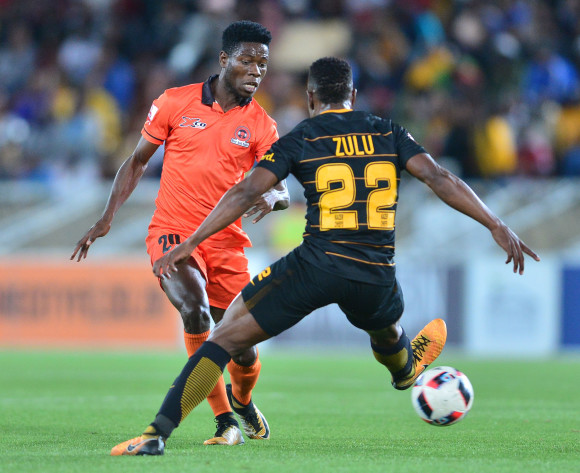 Salulani Phiri of Polokwane City challenged by Hendrick Ekstein of Kaizer Chiefs during the Absa Premiership 2017/18 football match between Polokwane City and Kaizer Chiefs at Peter Mokaba Stadium, Polokwane on 31 October 2017 ©Samuel Shivambu/BackpagePix