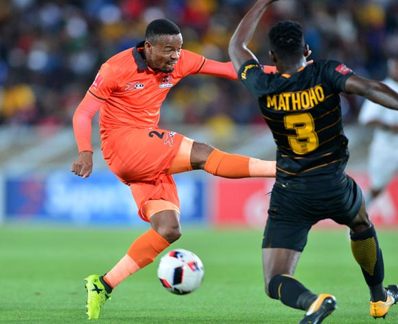 Thabiso Semenya of Polokwane City challenged by Eric Mathoho of Kaizer Chiefs during the Absa Premiership 2017/18 football match between Polokwane City and Kaizer Chiefs at Peter Mokaba Stadium, Polokwane on 31 October 2017 ©Samuel Shivambu/BackpagePix