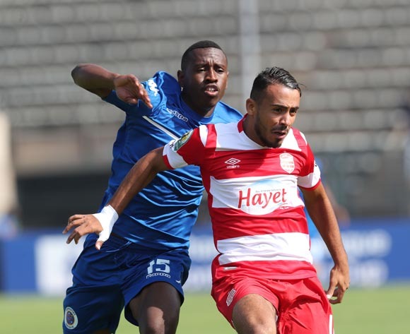 Mannoubi Hadded of Club Africain challenged by Siyabonga Nhlapho of Supersport United during the 2017 CAF Confederations Cup semifinal football match between Supersport United and Club African at Lucas Moripe Stadium in Pretoria, South Africa on 01October 2017 @Gavin Barker/BackpagePix