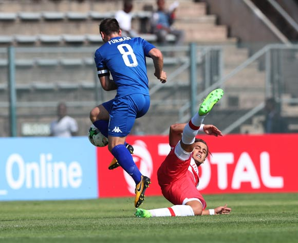 Ghazi Ayadi of Club Africain tackles Dean Furman of Supersport United during the 2017 CAF Confederations Cup