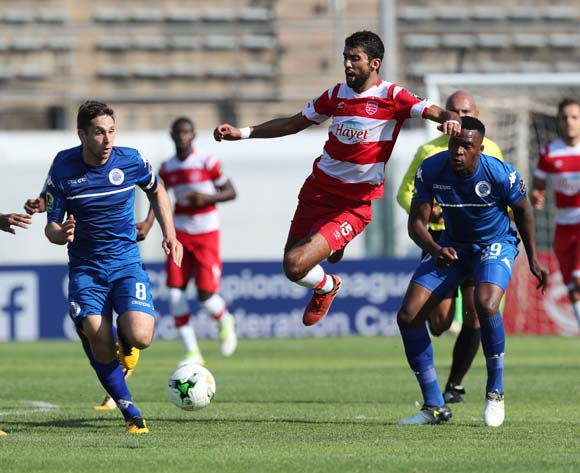 Oussama Darragi of Club Africain (c) challenged by Dean Furman (l) and Morgan Gould (r) during the 2017 CAF Confederations Cup semifinal football match between Supersport United and Club African at Lucas Moripe Stadium in Pretoria, South Africa on 01October 2017 @Gavin Barker/BackpagePix