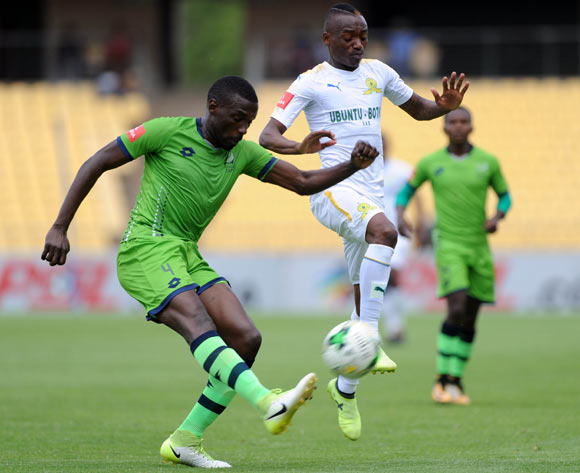 Willem Mwedihanga of Platinum Stars challenges Khama Billiat of Mamelodi Sundowns during the Absa Premiership match between Platinum Stars and Mamelodi Sundowns on the 01 October 2017 at Royal Bafokeng Stadium  © Sydney Mahlangu /BackpagePix